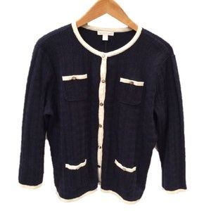 New York & Co. Corded Navy & White Sweater